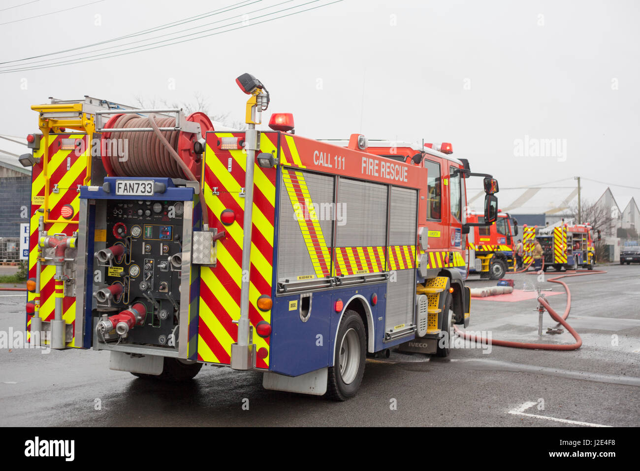 Fire brigade engine, Ashburton,Mid Canterbury,South Island, New Zealand - Stock Image