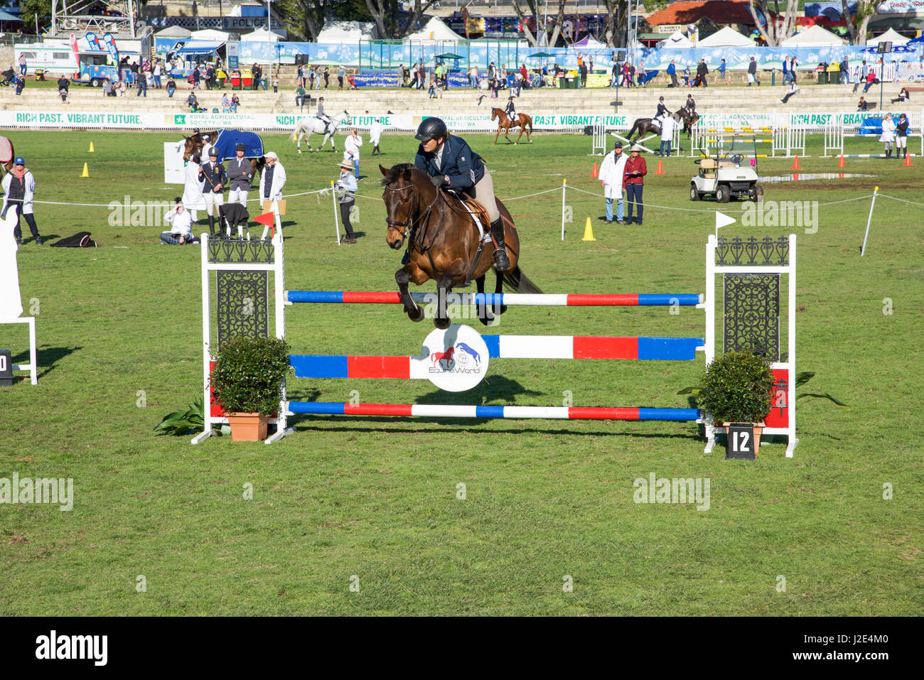 Claremont,WA,Australia-September 25,2016:Horse and rider at showjumping competition at the 2016 Perth Royal Show - Stock Image