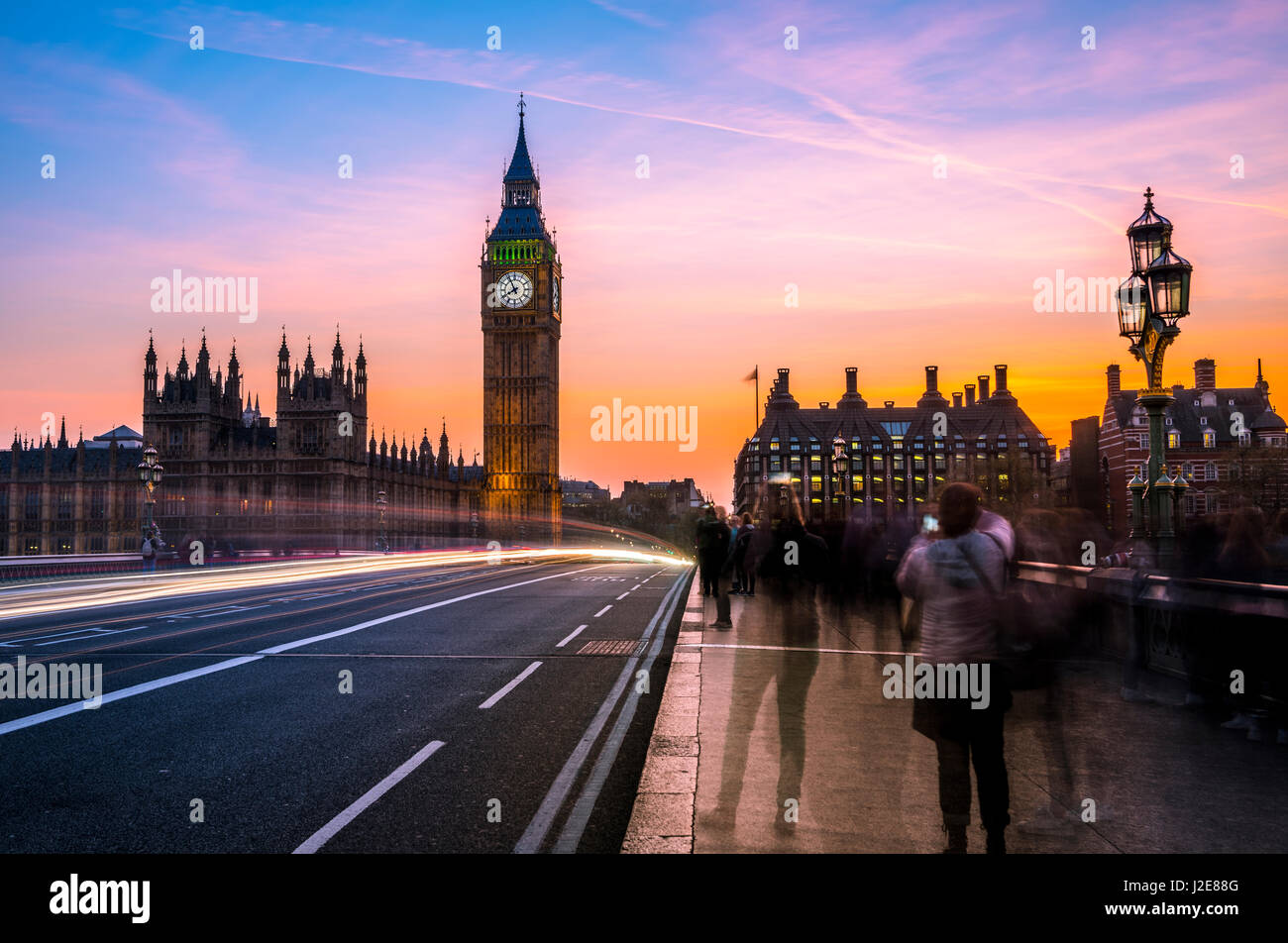 Light trails in front of Big Ben, dusk, evening light, sunset, Houses of Parliament, Westminster Bridge, City of - Stock Image