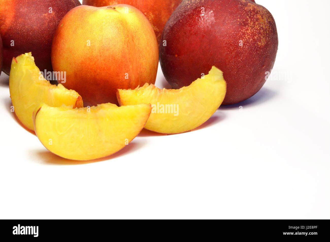 Sliced juicy netarines source of healthy vitamin - Stock Image