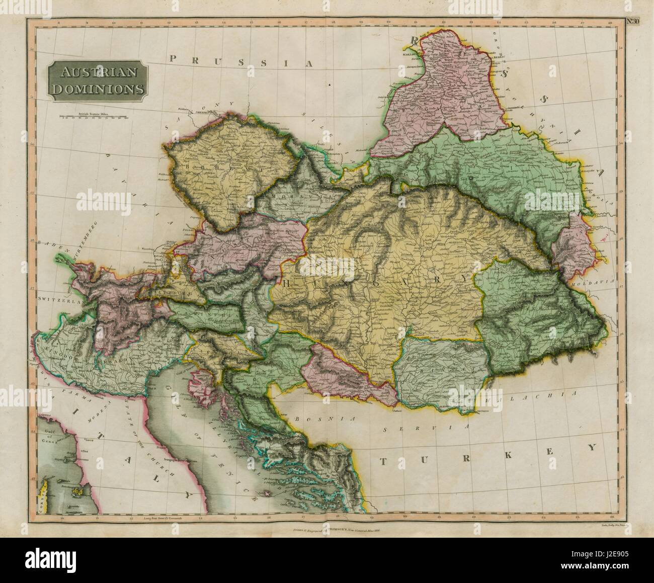 'Austrian dominions'. Austrian Empire. Includes West Galicia. THOMSON 1817 map - Stock Image