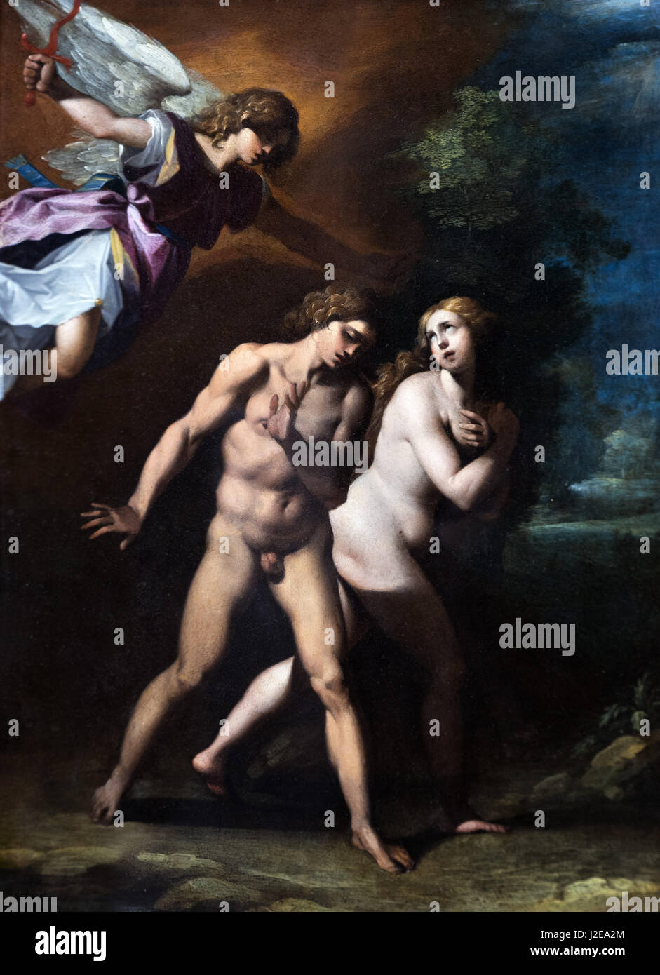 The Expulsion of Adam and Eve from Paradise by Cavaliere d'Arpino (Giuseppe Cesari: 1568-1640), c.1597 - Stock Image