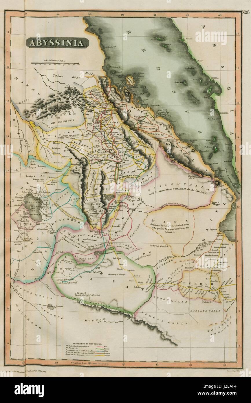 Abyssinia caravan explorers routes ethiopia thomson 1817 old ethiopia thomson 1817 old map gumiabroncs Image collections