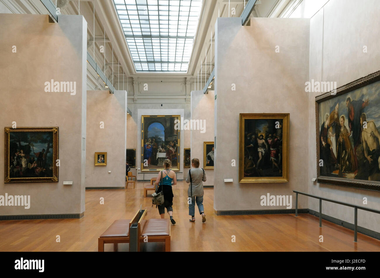 France, Rhone-Alpes, Lyon. Interior of a large paintings gallery, Musee des Beaux Arts Stock Photo