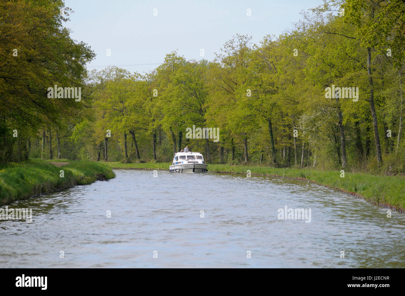 France, Loire. Canal boat, Canal lateral a la Loire - Stock Image