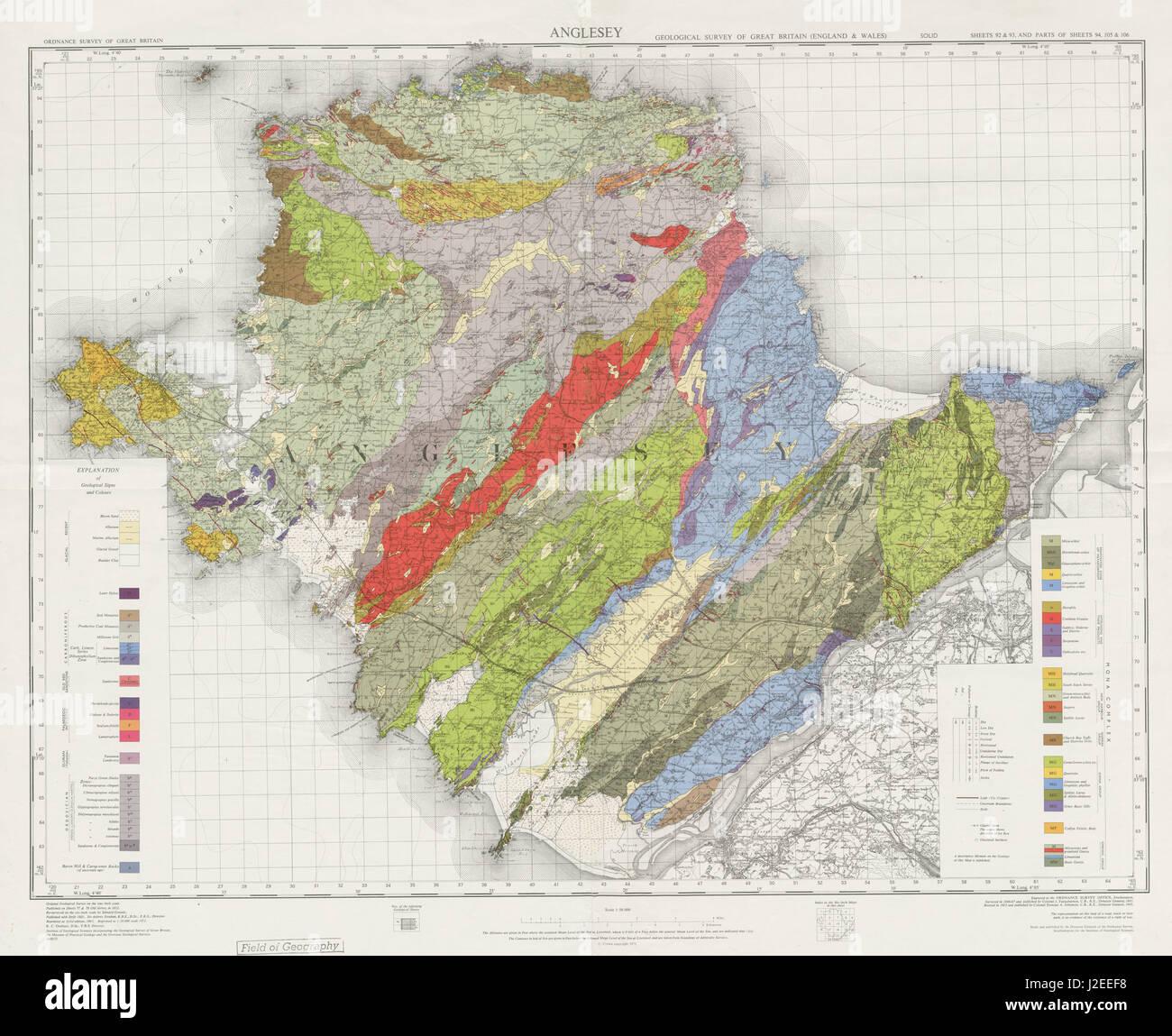 Map Of England Holyhead.Anglesey Geological Survey Wales Bangor Holyhead Caernarfon 1972 Old