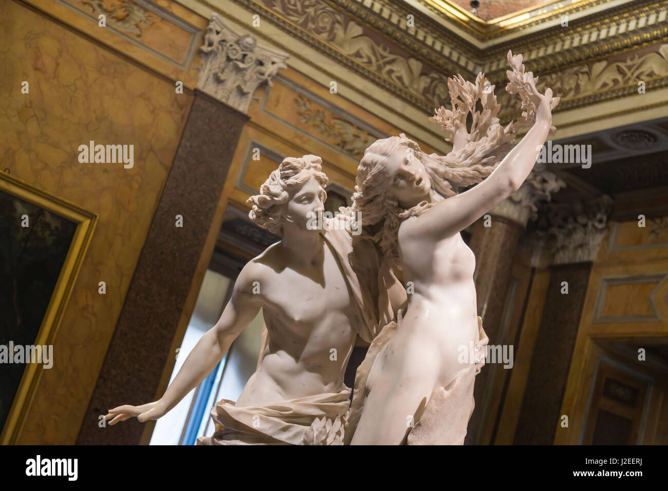 Italy, Rome. Sculpture of Apollo and Daphne, depicting the climax of their story in Ovid's Metamorphoses. The - Stock Image