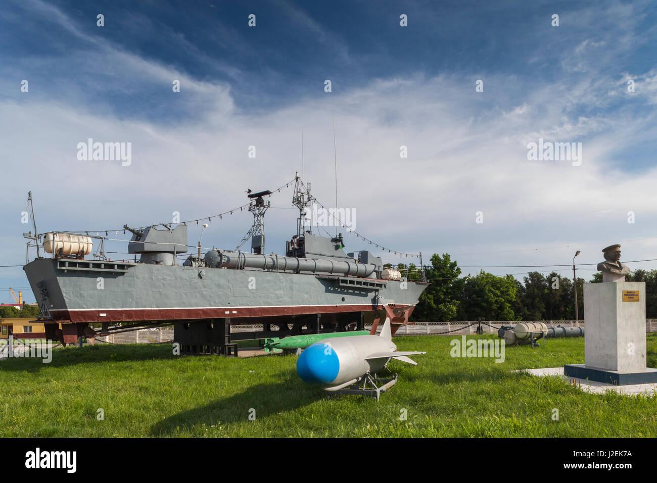 Romania, Black Sea Coast, Mangalia, naval patrol boat on display - Stock Image