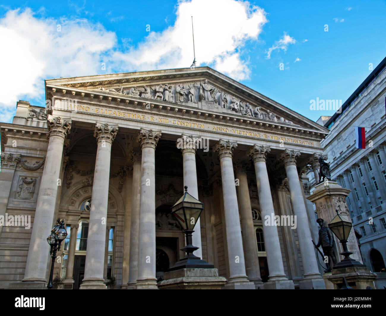 Europe, United Kingdom, England, London, City of London. The Royal Exchange, designed by William Tite in the 1840's. - Stock Image