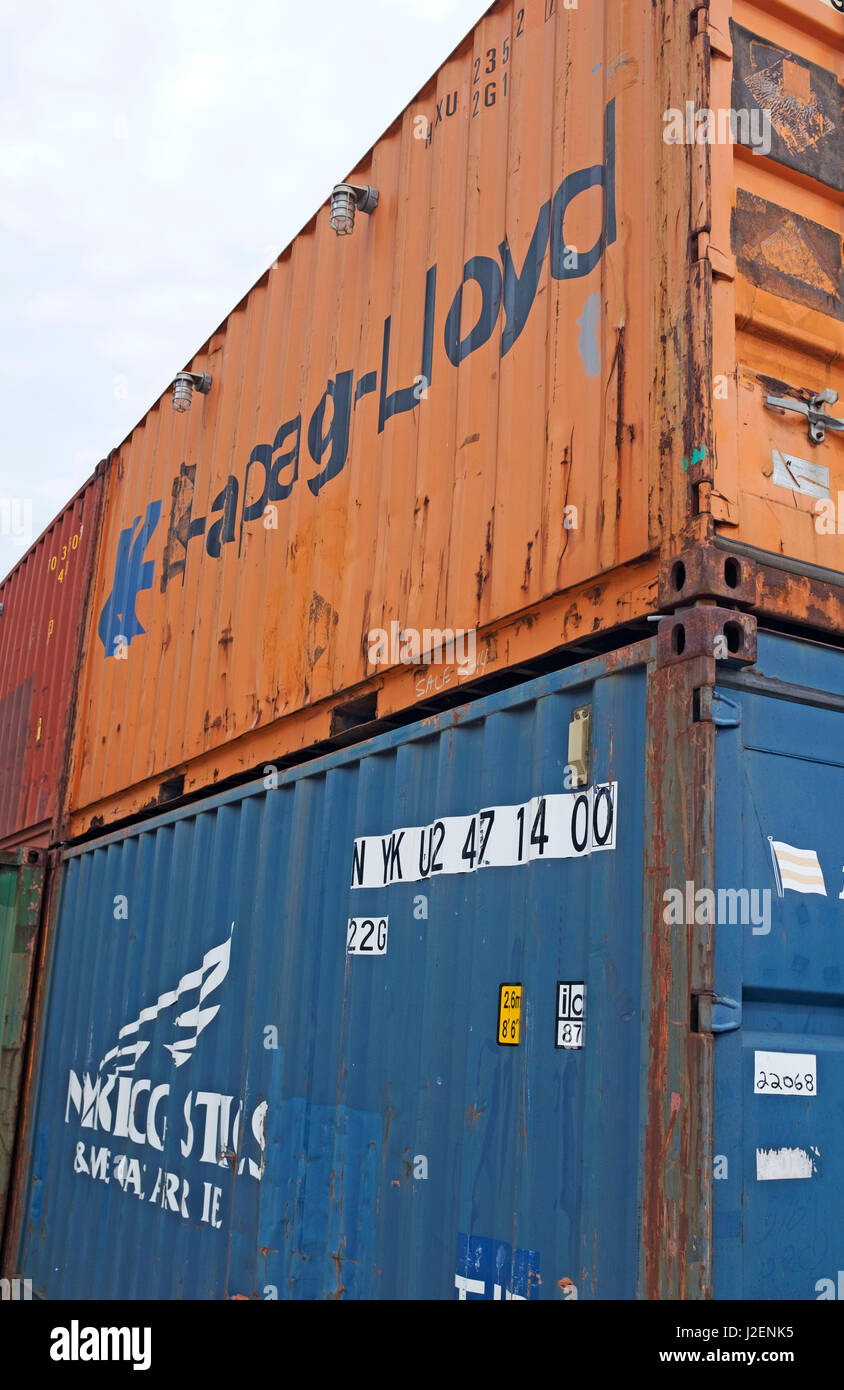 Stackable freight cargo containers in the Port of Cleveland in Cleveland, Ohio, United States - Stock Image