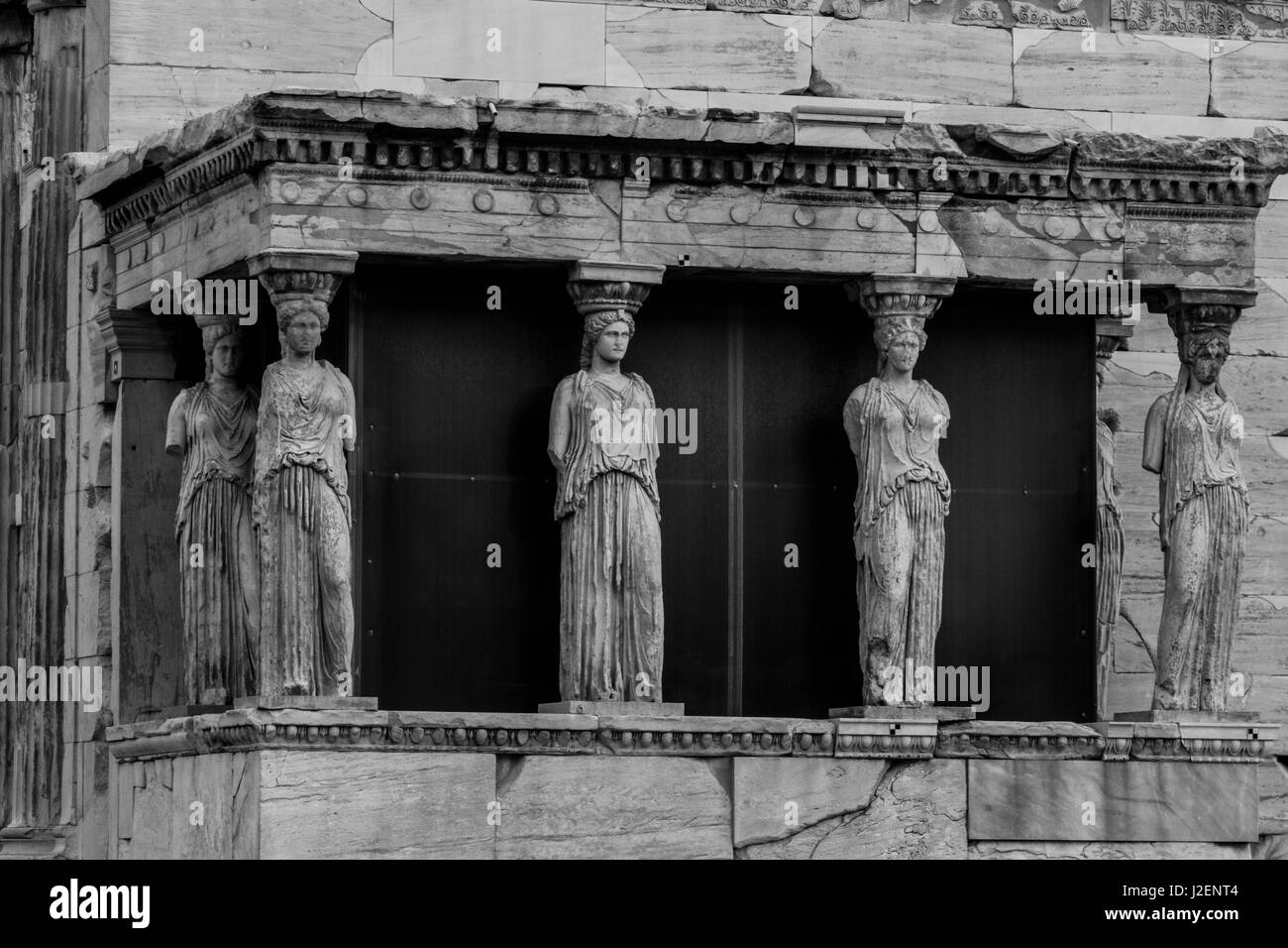 Athens, Greece. Six Caryatid Statues at the Acropolis - Stock Image