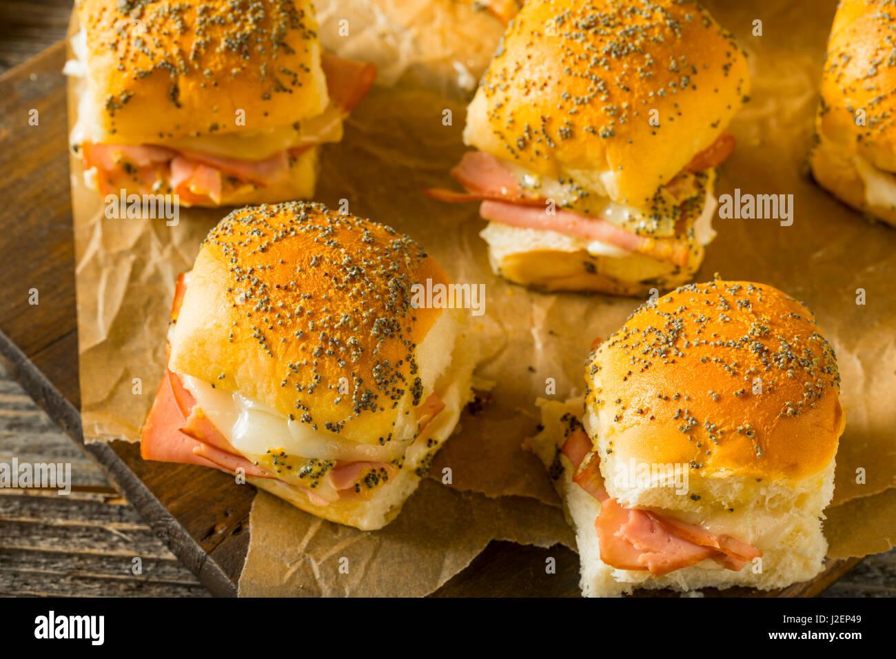 Hawaiian Ham and Cheese Buns with Mayo and Poppy Seeds - Stock Image