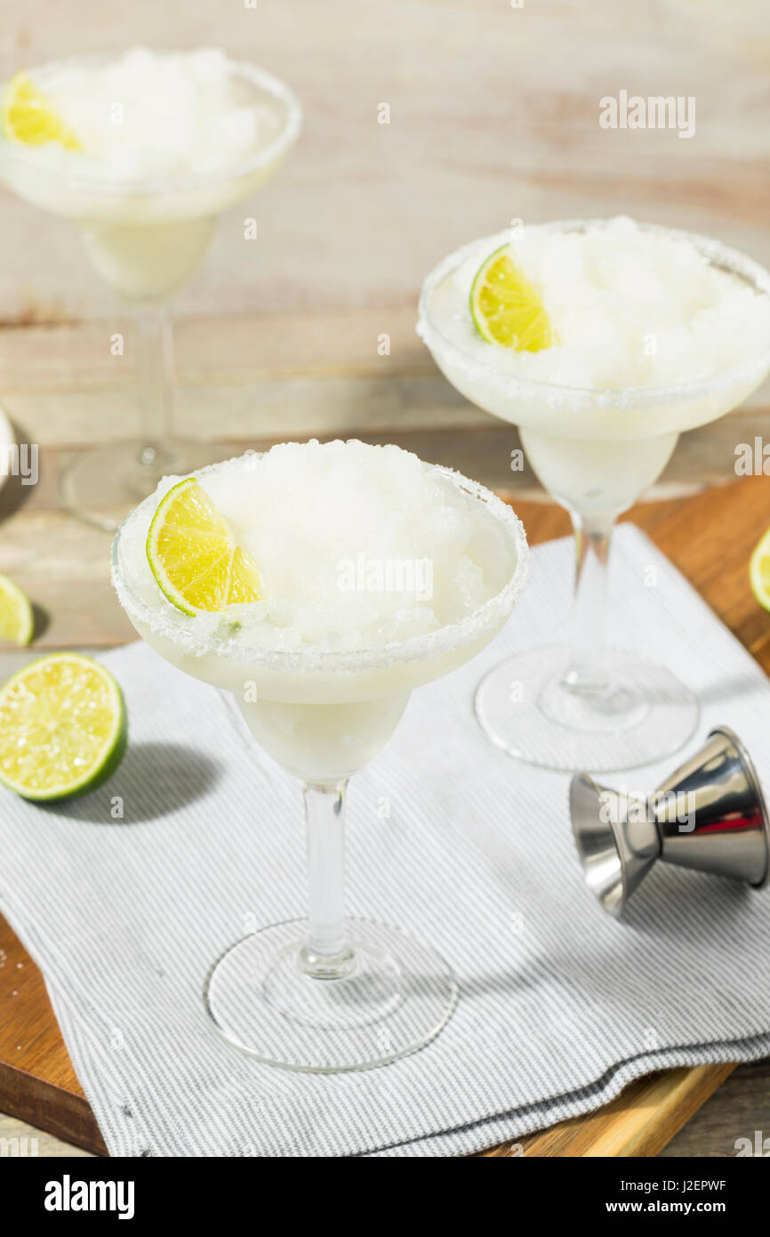 Cold Refreshing Lime Frozen Margarita Ready to Drink Stock Photo