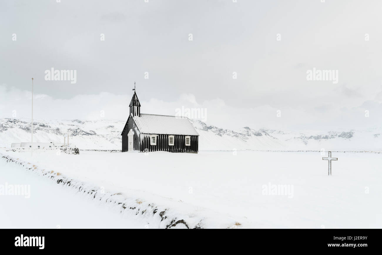 The church of Budir during winter. Europe, Iceland. (Large format sizes available) - Stock Image