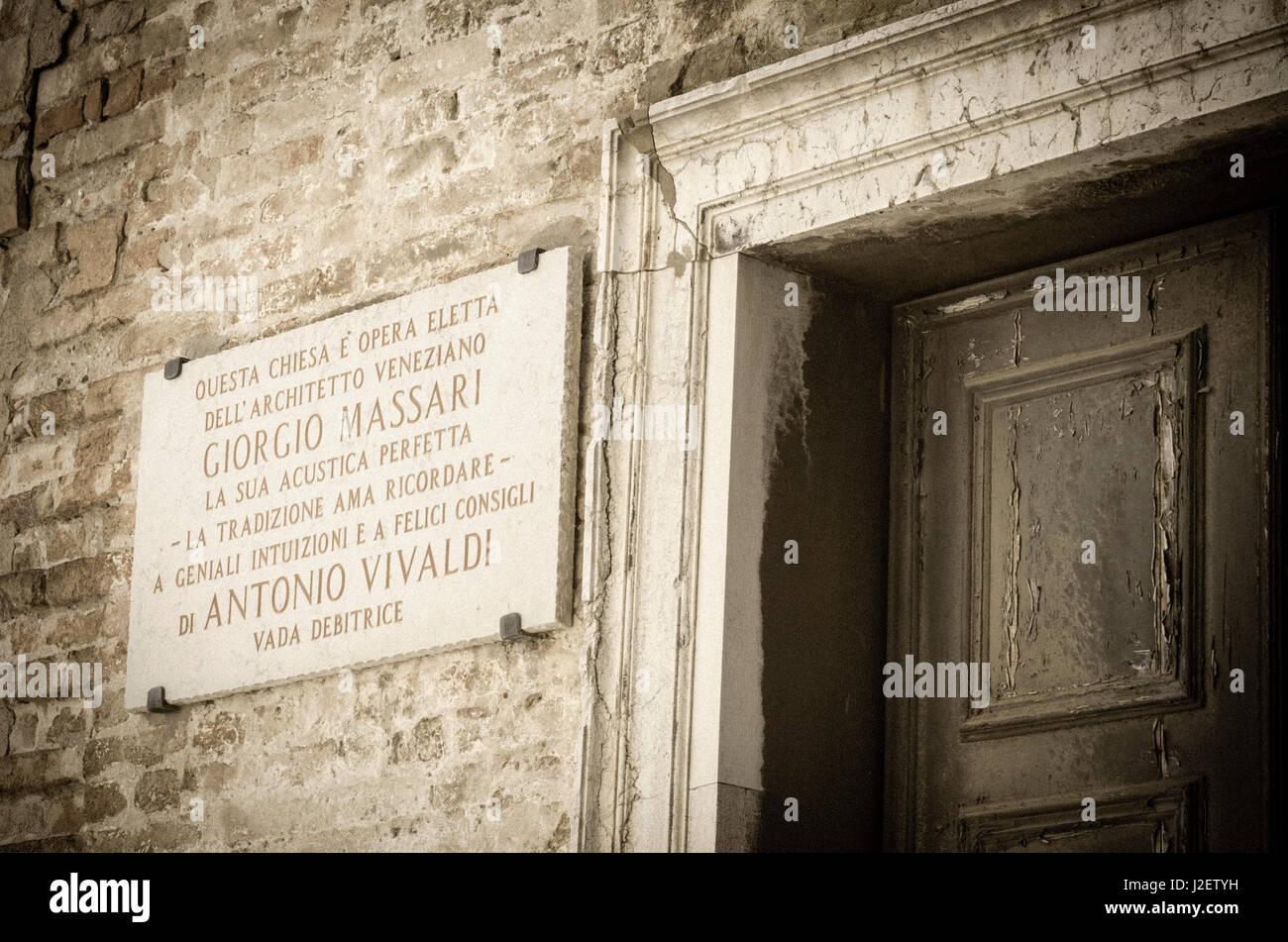 Plaque honoring Giorgio Massari and Antonio Vivaldi at Santa Maria della Pieta Church, Venice, Veneto, Italy - Stock Image