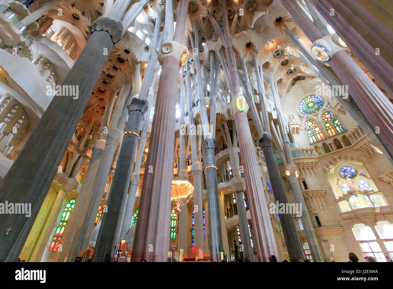 The stunning interior of the Sagrada Familia the Antoni Gaudi Stock