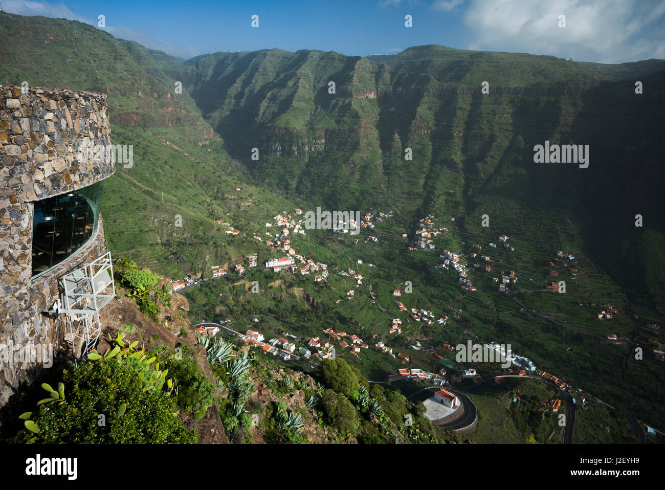 Spain, Canary Islands, La Gomera, Valle Gran Rey, elevated valley view - Stock Image