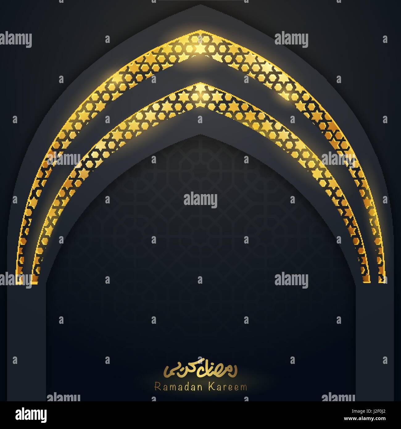 Islamic design template Ramadan Kareem greeting card mosque window ...