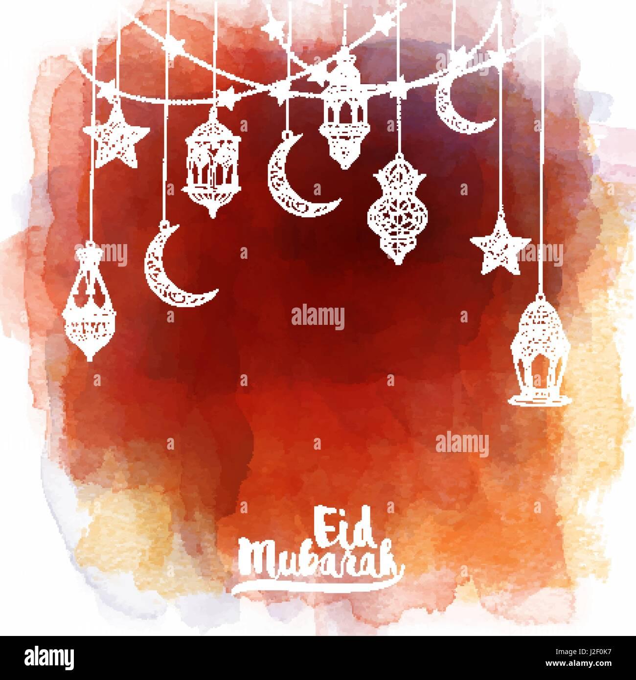 Eid Mubarak Greeting Card Template Islamic Banner Background With Stock Vector Image Amp Art Alamy
