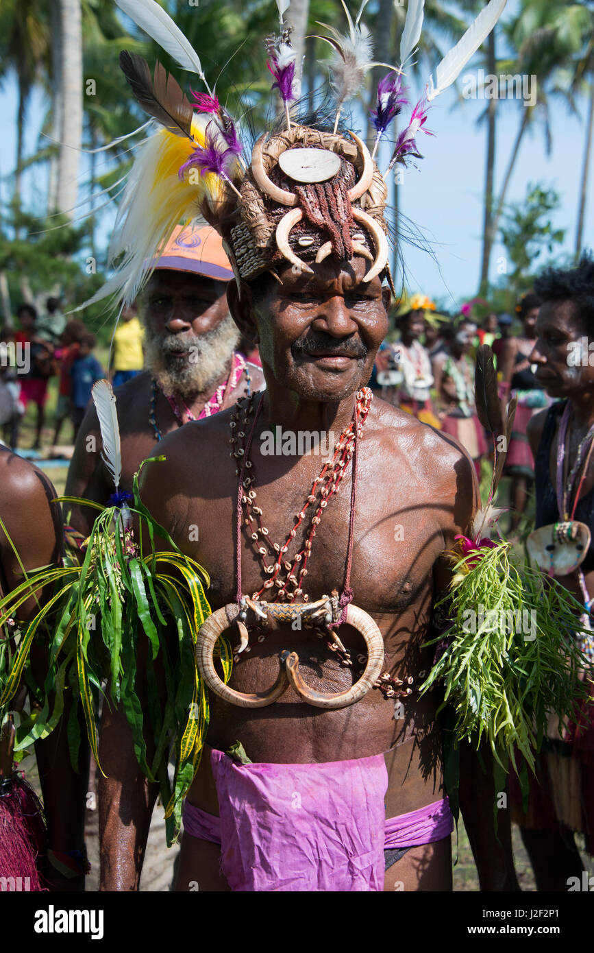 Melanesia, Papua New Guinea, Sepik River area, Murik Lakes, Karau Village. Village chief in ornate seashell and - Stock Image