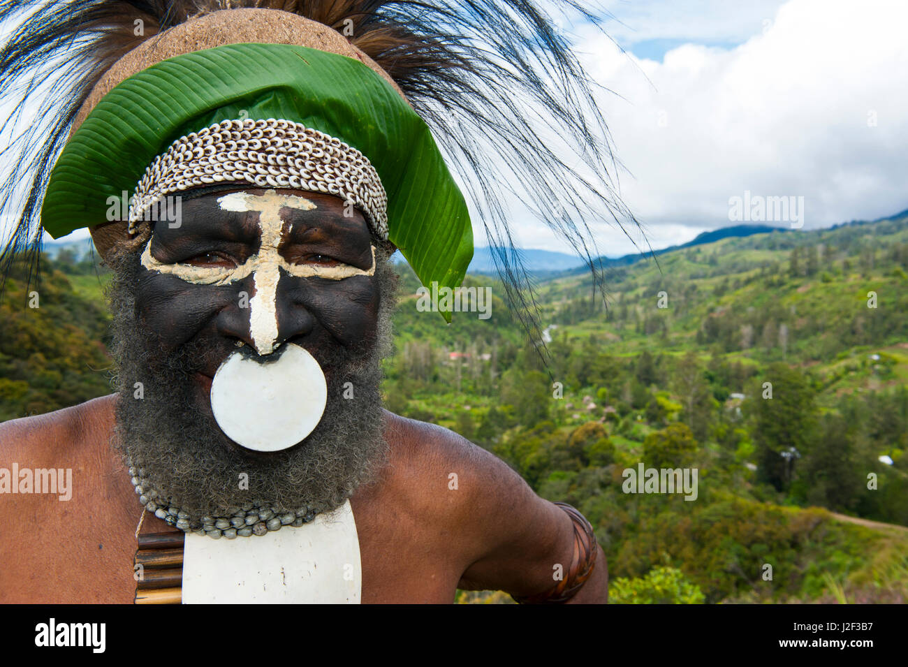 Colorfully dressed and painted local tribal chief in the Highlands of Papua New Guinea, Melanesia - Stock Image