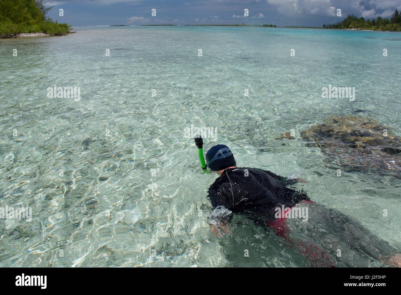 French Polynesia, Society Islands, Leeward Islands, Bora Bora. Haapiti, a small private island, aka motu. Shallow - Stock Image