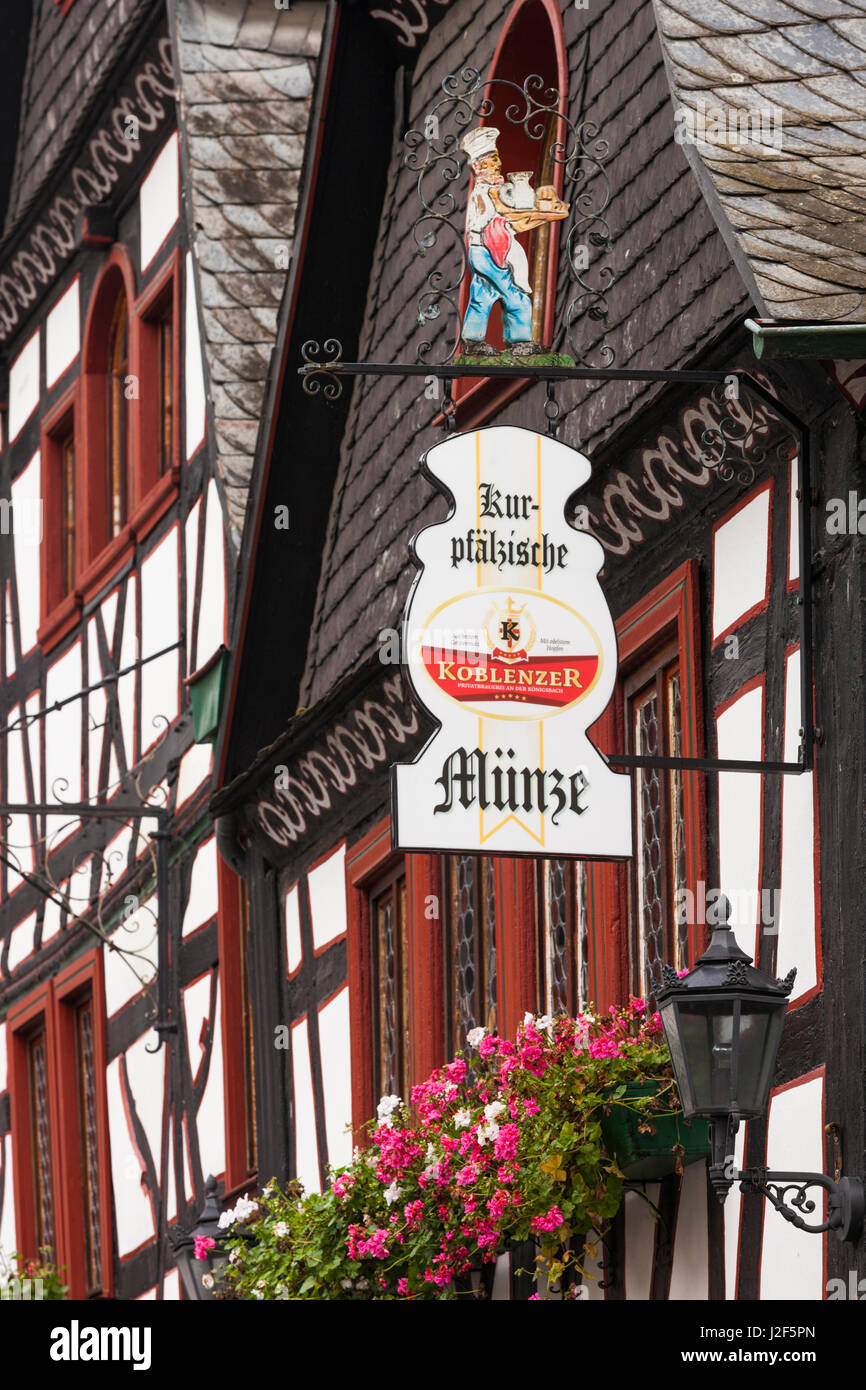 Germany, Rhineland-Pfalz, Bacharach, sign for Die Alte Munze guesthouse - Stock Image