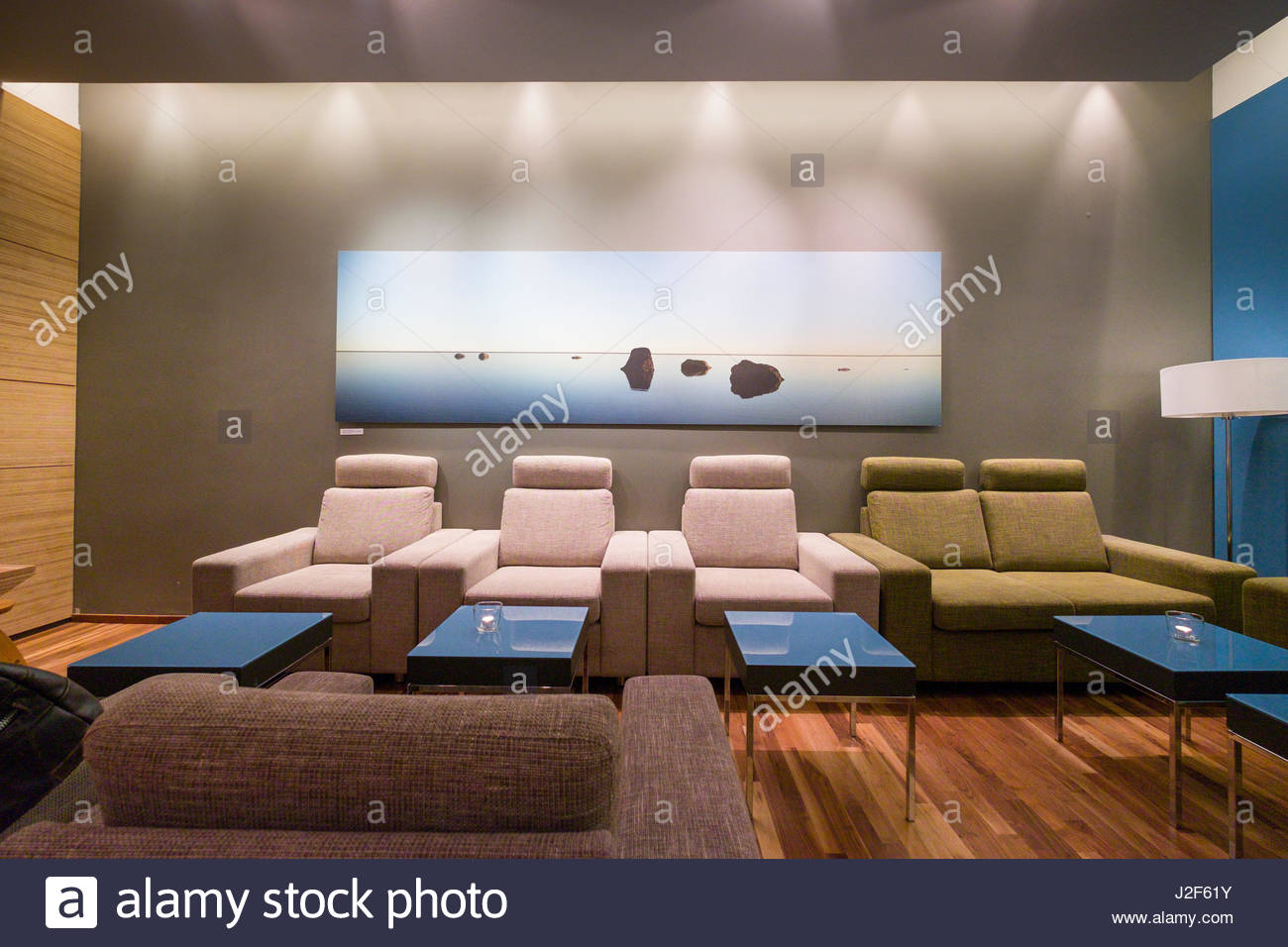 Icelandair Saga first class lounge at Keflavík International Airport, Reykjanes, Southern Peninsula, Iceland - Stock Image