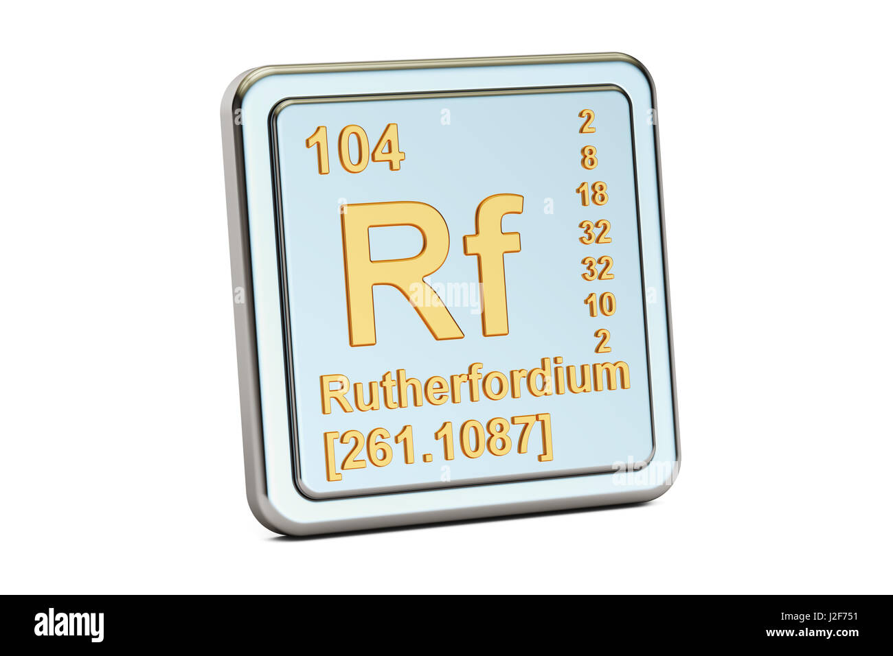 Rutherfordium Rf, chemical element sign. 3D rendering isolated on white background Stock Photo