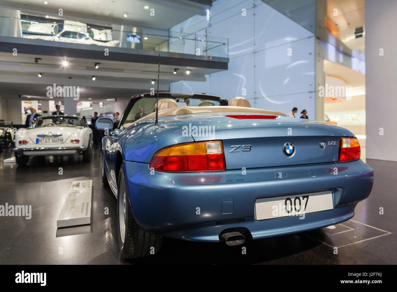 Germany Bavaria Munich Bmw Museum Display Of Bmw Z3 Used In James Stock Photo Alamy