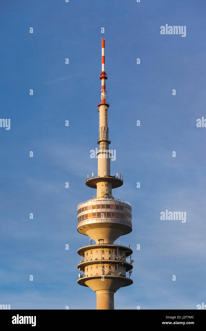 Germany, Bavaria, Munich, Olympic Park, Olympia Tower, sunset, fall - Stock Image