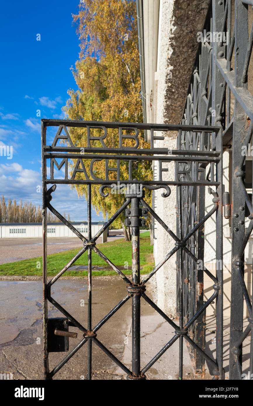 Germany, Bavaria, Munich-Dachau, WW2-era Nazi concentration camp, entrance gate with the inscription, Arbeit Macht - Stock Image