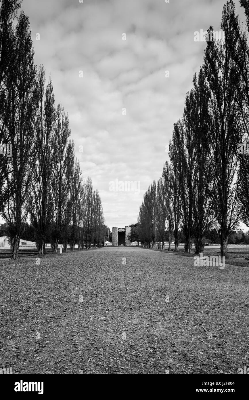 Germany, Bavaria, Munich-Dachau, WW2-era Nazi concentration camp, grounds, once occupied by barracks buildings - Stock Image
