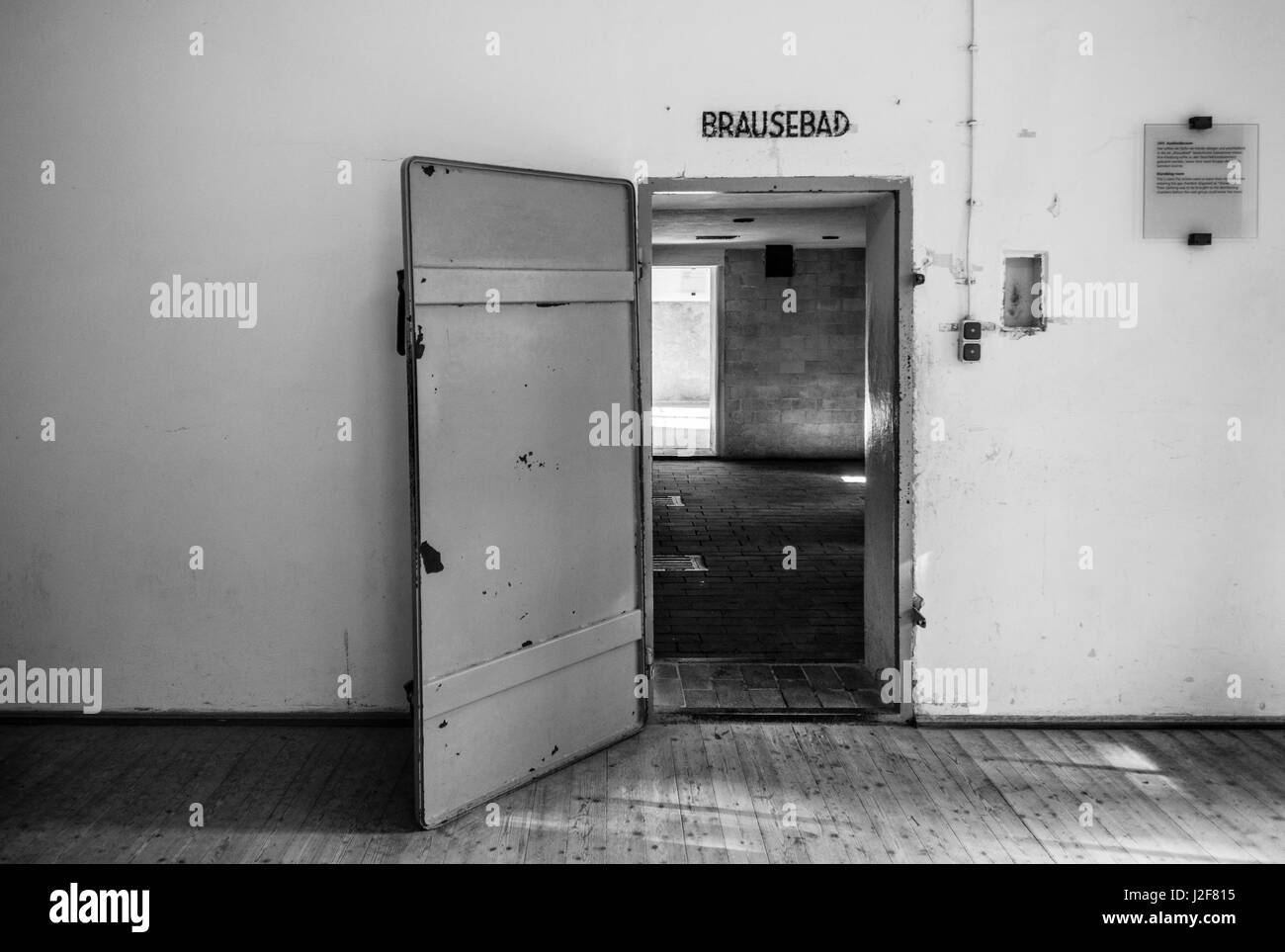 Germany, Bavaria, Munich-Dachau, WW2-era Nazi concentration camp, crematorium building, gas chamber disguised as - Stock Image