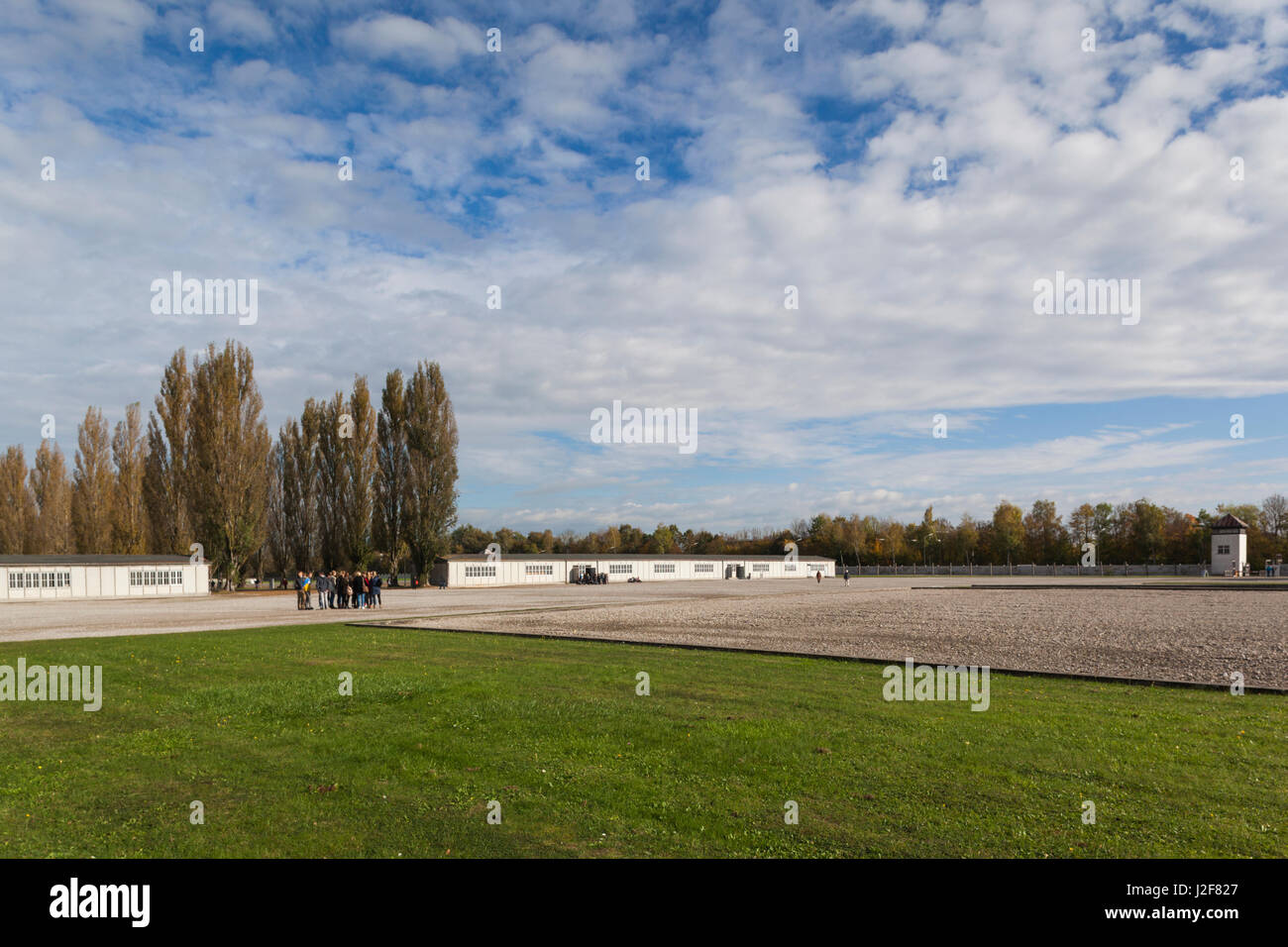 Germany, Bavaria, Munich-Dachau, WW2-era Nazi concentration camp, barracks building, exterior - Stock Image