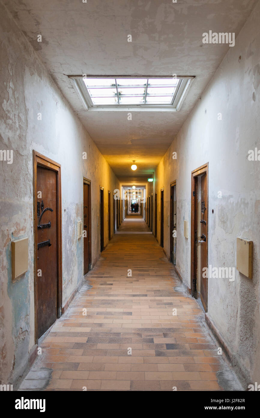 Germany, Bavaria, Munich-Dachau, WW2-era Nazi concentration camp, prison cell Stock Photo