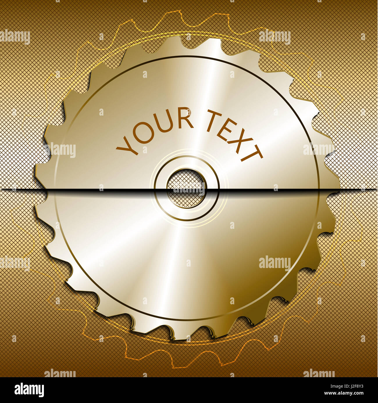 Circular saw blade on a metallic background. Place for text. Vector illustration - Stock Image