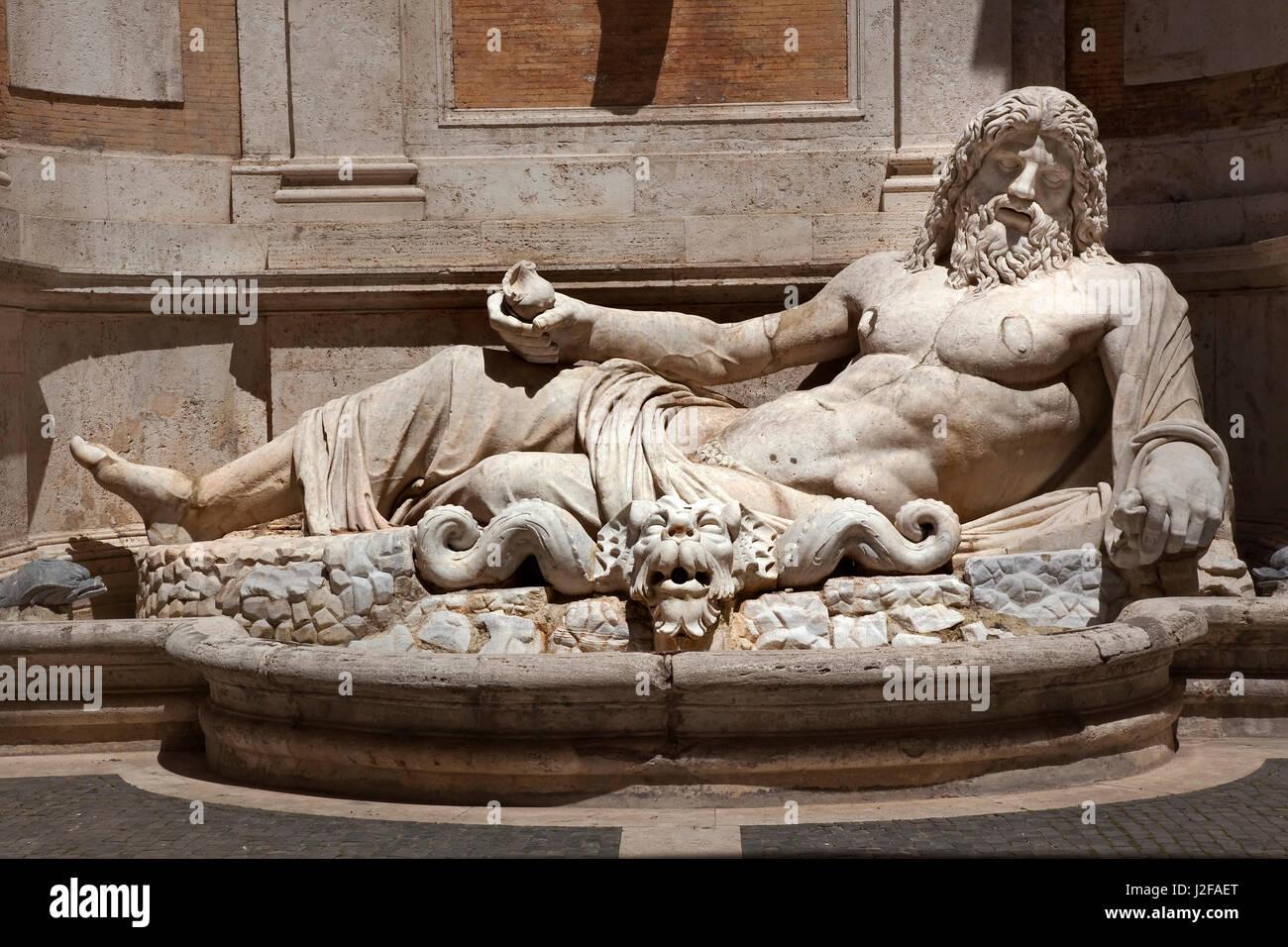 Ancient Neptune Statue Roman God Sculpture Capitoline Museum, Rome, Italy - Stock Image