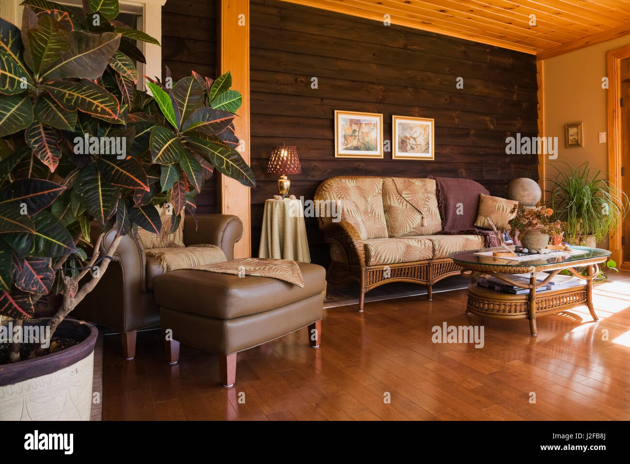 Brown leather chair with ottoman and wicker sofa in the sunroom extension attached to an old 1877 cottage style Stock Photo
