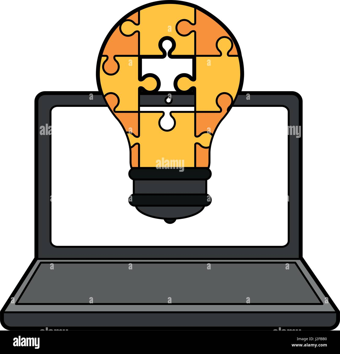 colorful silhouette laptop computer with light bulb of pieces puzzle incomplete - Stock Image