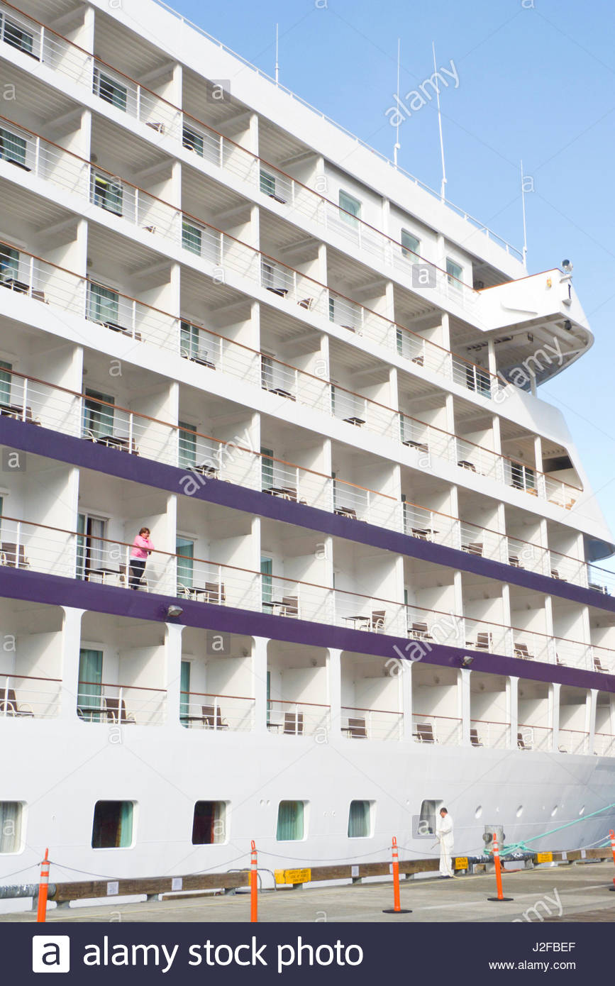 Regency Seven Seas Navigator Cruise Ship docked at Ketchikan harbor, Alaska, USA - Stock Image