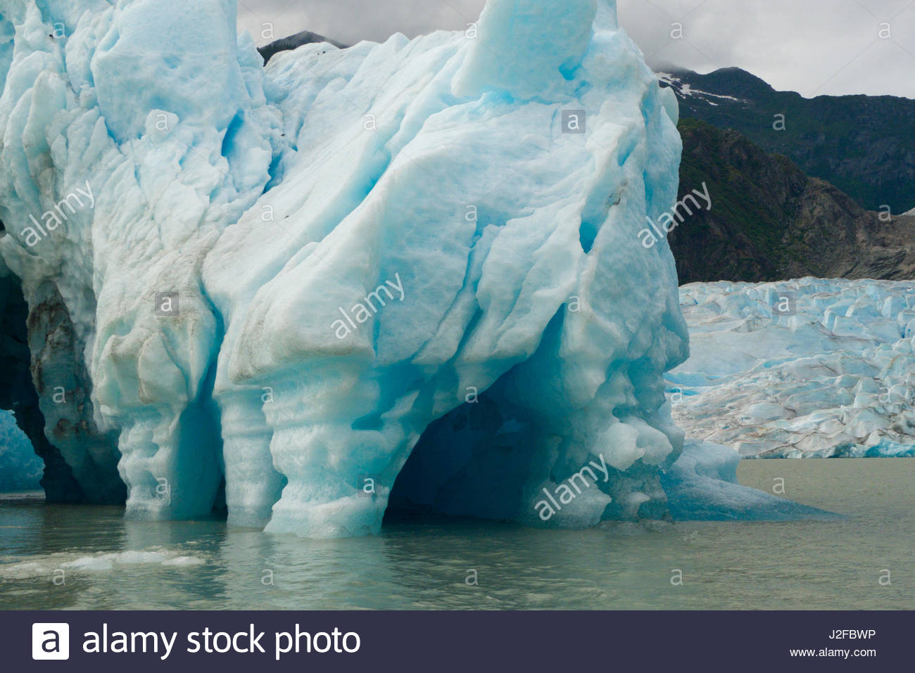 Colorful blue ice of Mendenhall Glacier, Tongass National Forest, Juneau Borough, Alaska, USA - Stock Image