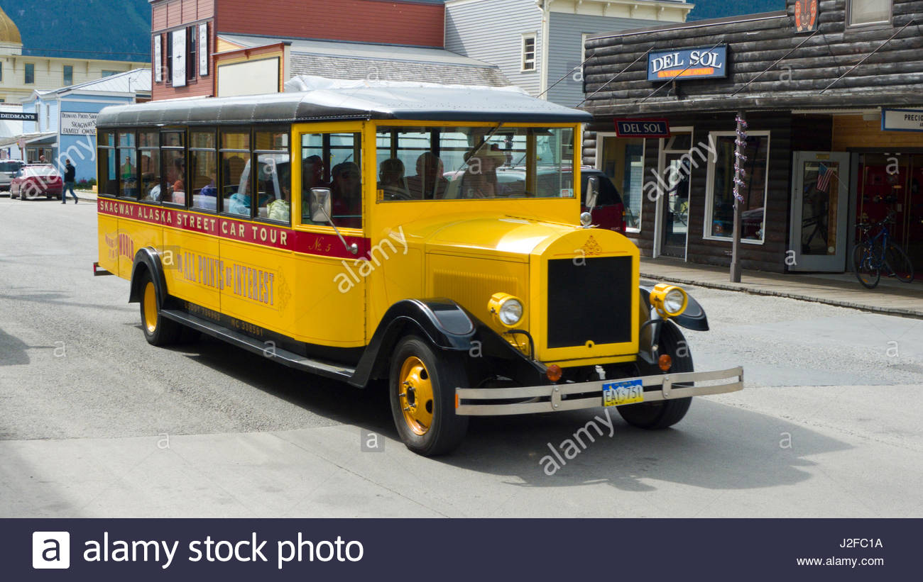 Skagway Alaska Street Car Tour custom yellow vehicle on Broadway ...