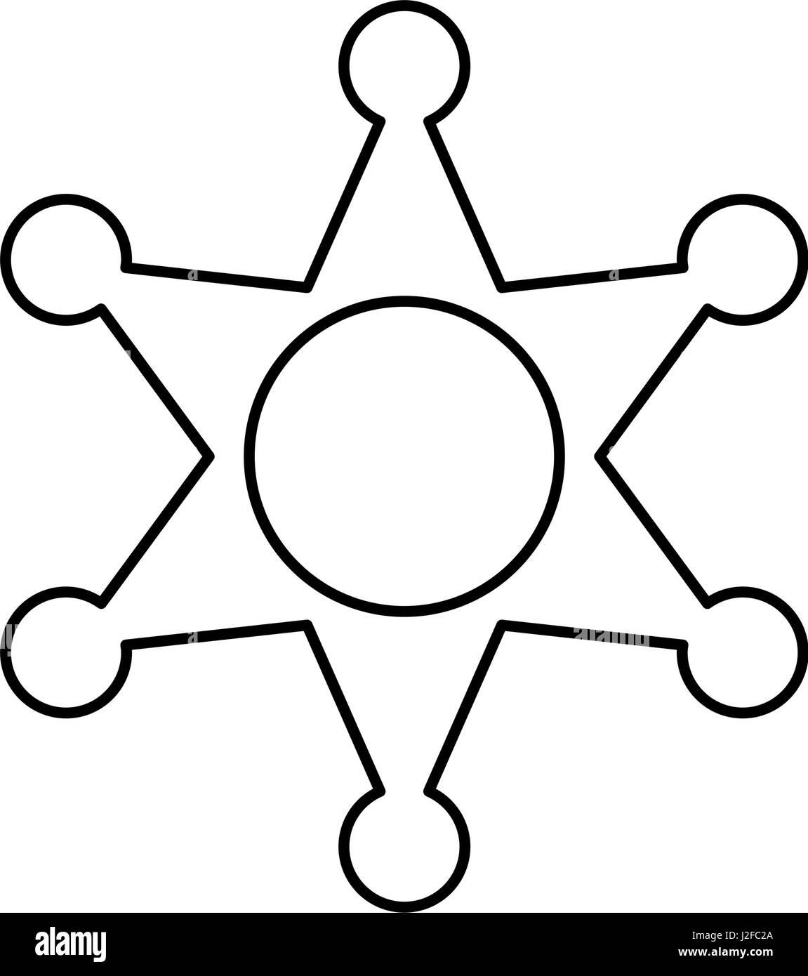police badge icon image  - Stock Image
