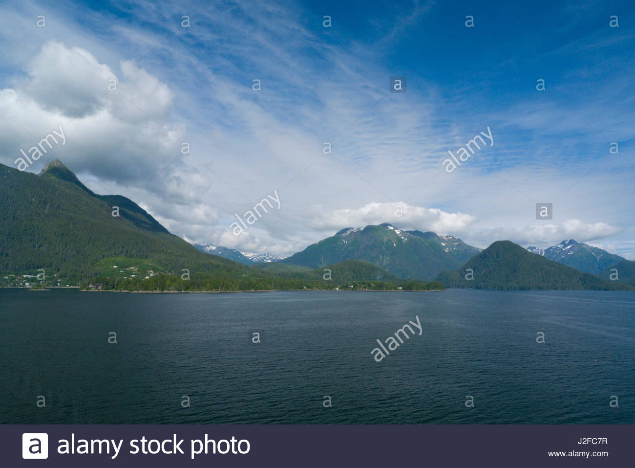 View of the Tongass National Forest from Eastern Channel of Sitka Sound, Alaska, USA - Stock Image