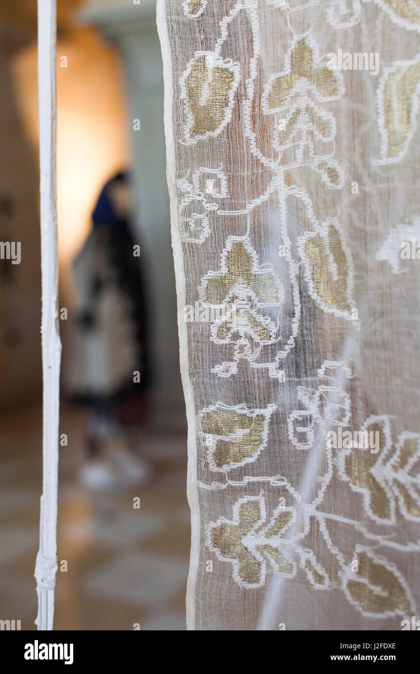 Romania, Bucharest, Museum of the Romanian Peasant, lace - Stock Image