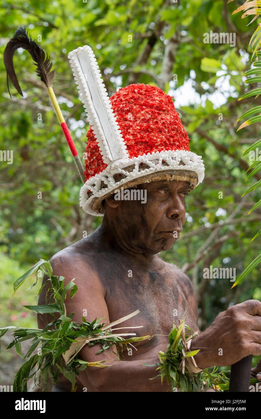 Republic of Vanuatu, Torres Islands, Loh Island. Village elder dressed in traditional headdress for 'The Chiefs - Stock Image