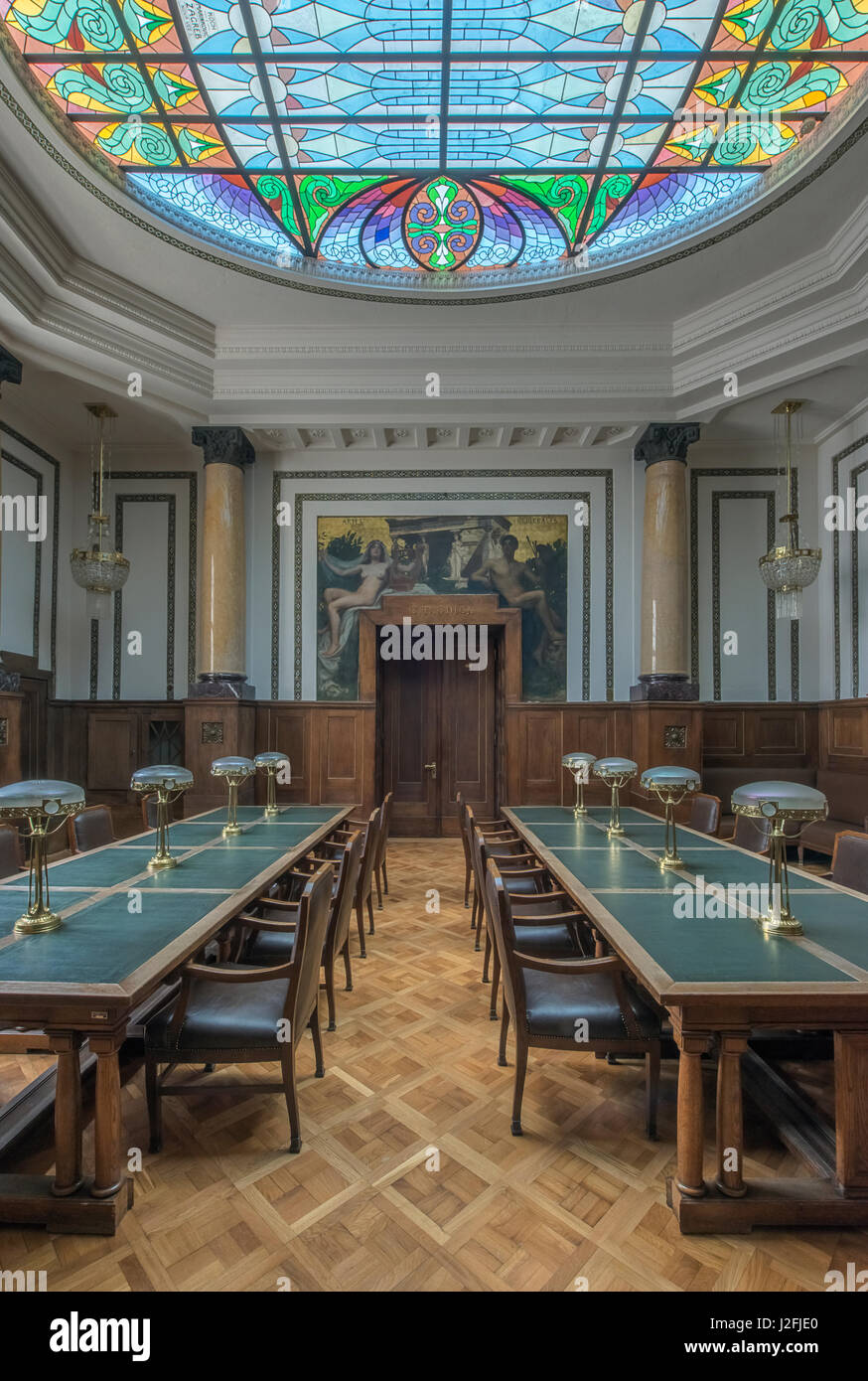 Croatia, Zagreb, Croatian State Archives, Professors Reading Room (Large format sizes available) - Stock Image