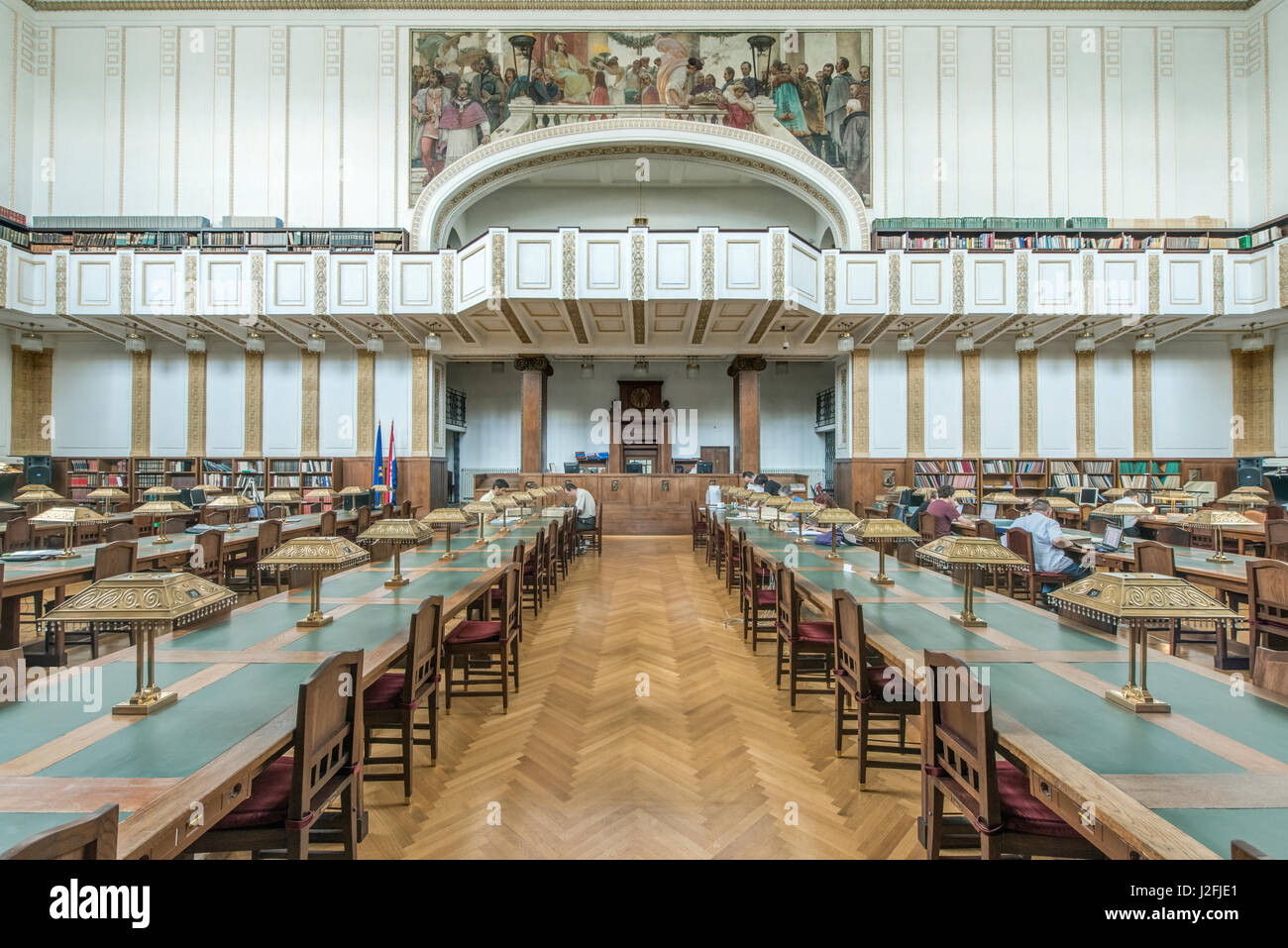 Croatia, Zagreb, Croatian State Archives, Central Reading Room (Large format sizes available) - Stock Image