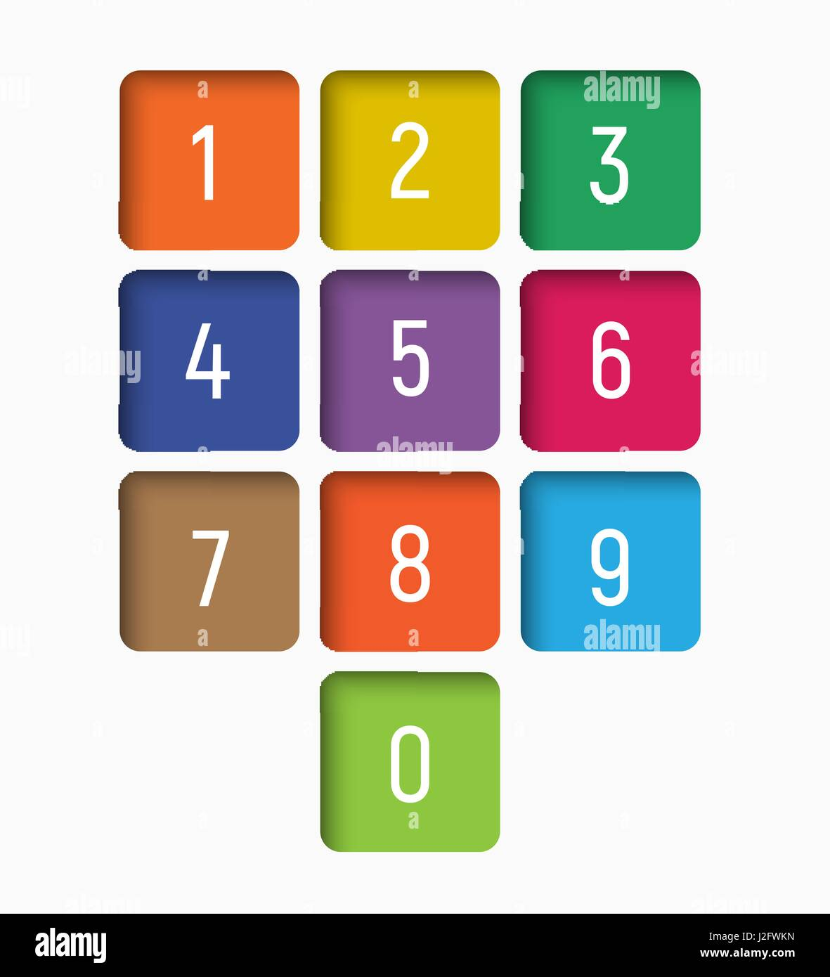set of numbers from 0 to 9 in multi-colored squares with an internal shadow. Vector illustration - Stock Vector